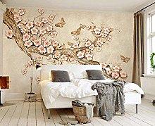 3D Wallpaper with Butterfly Motif 3D Flowers