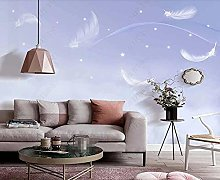 3D Wallpapers Feather Starry Purple Sky Wallpaper