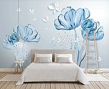 3D Wallpapers for Walls Blue Floral Butterfly
