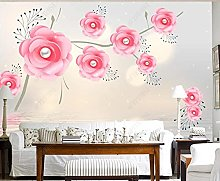 3D Wallpapers Pink Rose with Pearl Reflection