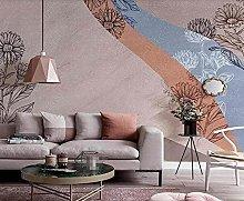 3D Wallpapers Plant Flower Line Retro Wallpaper