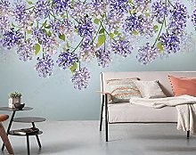 3D Wallpapers Purple Flower Vine with Green Leaves