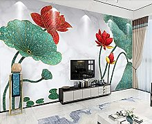 3D Wallpapers Red Lotus Plant Wallpaper Wall Mural