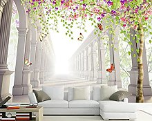 3D Wallpapers Roman Columns with Flowers and Trees