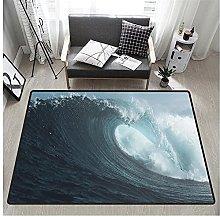 3D Waves Print Rectangular Rug 80x160 cm,Unique