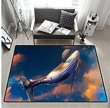 3D Whale Print Rectangular Rug 80x160 cm,Unique
