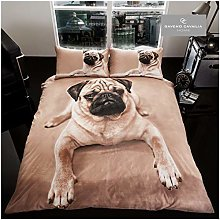 3D WILDLIFE PUG DOG Bed Set with Duvet Cover and