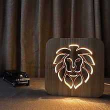 3D Wooden lamp Animal Lion Style USB LED Table