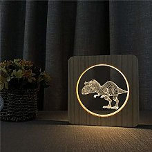 3D Wooden lamp LED Night Light Dinosaur USB