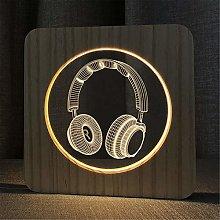 3D Wooden LED Night Light,Handmade Art Night Mood