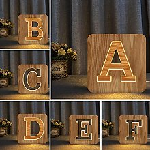 3D Wooden Led Night Light USB Hollow Carved Table
