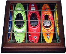 3dRose Kayak-Trivet with Ceramic Tile, 8 by