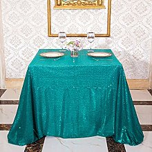 3E Home 120X120cm(48X48 inches) Teal Square Sequin