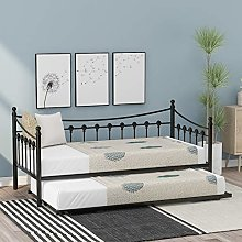 3FT Metal Daybed Guest Bed Frame With Trundle For