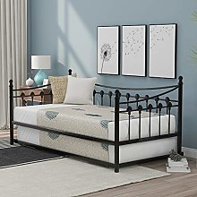 3FT Metal Daybed Guest Bed With Trundle For Guest