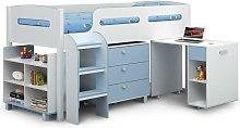 3ft Single 90 x 190 White & Sky Blue Cabin Bed