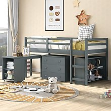 3FT White Pine Wood Single Bunk Bed Frame with