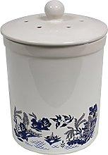 3L White Ashmore Blue Willow Design Ceramic