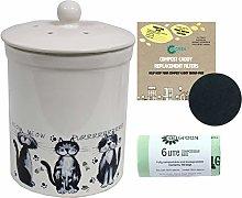 3L White Ashmore Cat Design Ceramic Compost