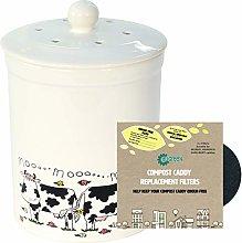 3L White Ashmore Cow Design Ceramic Compost
