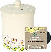 3L White Ashmore Daisy Design Ceramic Compost