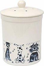 3L White Ashmore Dog Design Ceramic Compost