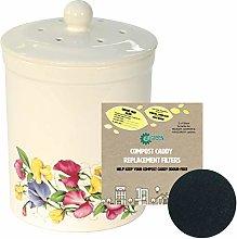 3L White Ashmore Sweetpea Design Ceramic Compost