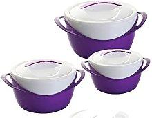 3pc Hot Pot Insulated Food Warmer Casserole Hotpot