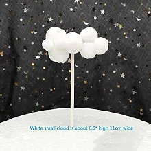 3Pc Pink Blue White Pompom Cloud Cake Topper Baby