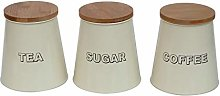 3PC Tea, Sugar & Coffee Canister Set - Cream -