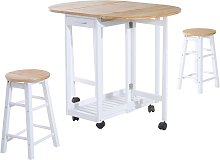 3PC Wooden Kitchen Cart Mobile Rolling Trolley