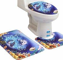 3pcs Bath Mat Set Sea Print Rug with Toilet Seat