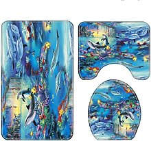 3pcs Blue Sea Dolphin Shower Curtain Waterproof