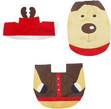 3PCS Christmas Bath Mat Tank Cover Toilet Rug Soft