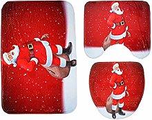 3pcs Christmas Toilet Seat Cover Rug Set Santa