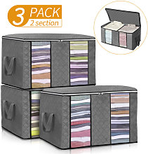 3PCS Clothes Storage Bags Wardrobe Cube Closet
