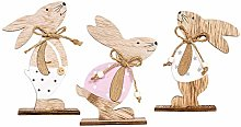 3pcs Easter Decorations Wooden Rabbit Shapes