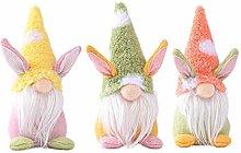 3PCS Easter Rabbit Gnomes Plush Knitted Easter