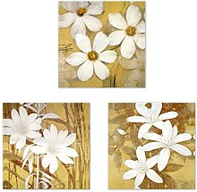 3Pcs Flower Print Wall Art Canvas Painting Picture