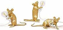 3pcs Gold Resin Rat Lamps Mouse Led Table Lampled