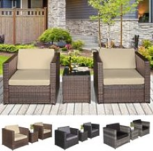 3Pcs Patio 2 Seater Rattan Sofa Garden Furniture