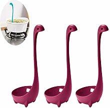 3PCS Purple Dinosaur Cute Long Handle Soup Spoons,