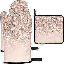 3PCS - Rose Gold Wallpaper Oven Gloves and Pot