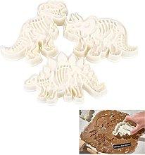 3pcs/Set Dinosaur Shaped Cookie Cutter, 3D Biscuit