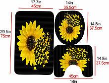 3PCS/Set Sunflower Butterfly Print Shower Curtain