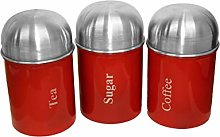 3pcs Stainless Steel Red Dome Canister Tea Coffee