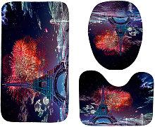 3pcs Toilet Rug Lid Cover Bath Mats Set Bathroom