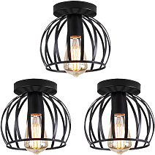 3pcs Vintage Ceiling Light Black Round Chandelier