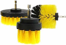 3pcs Yellow Tile Powerful Cleaning Drill Brush