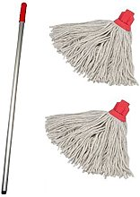 3X Professional Colour Coded Mop Handle and 2 Mop
